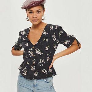 Topshop Floral Print Button Up Blouse
